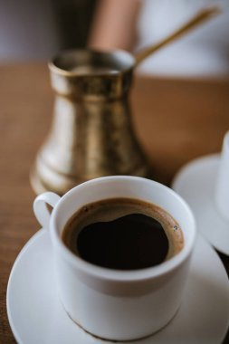 One Cup Of Turkish Coffee On The Table