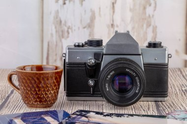 Camera vintage old school retro gear photography stock vector