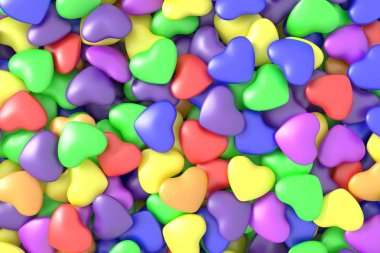 Colorful hearts background. 3D rendering.