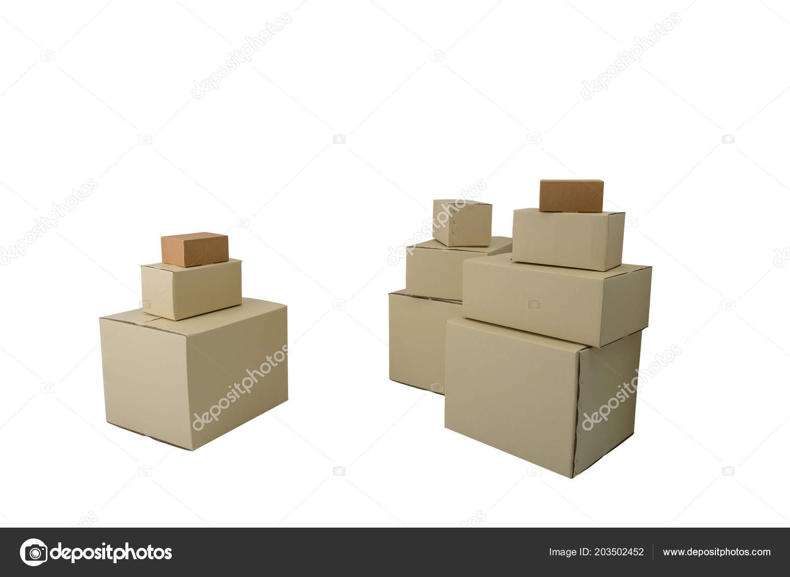 cardboard boxes different sizes stacked boxes isolated white