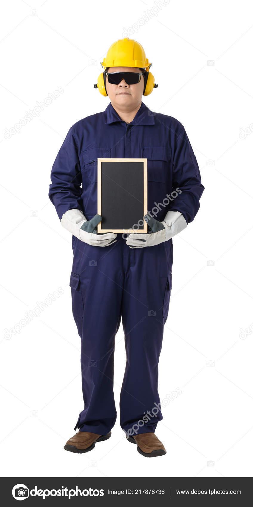 09514664816 Full Body Portrait Worker Mechanic Jumpsuit Helmet Earmuffs ...