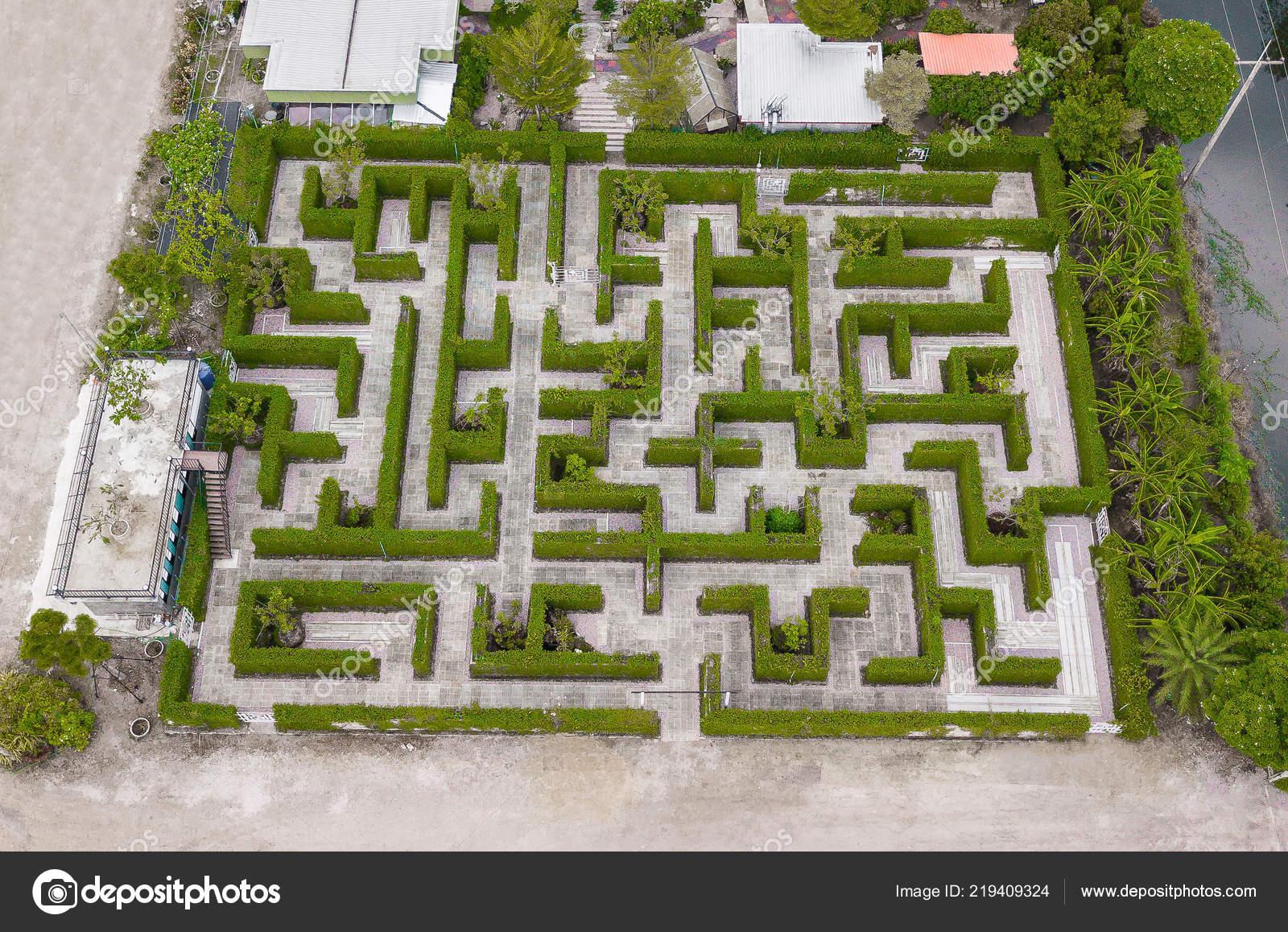 Vue Aérienne Décoration Jardin Est Labyrinthe Avec Vert ...