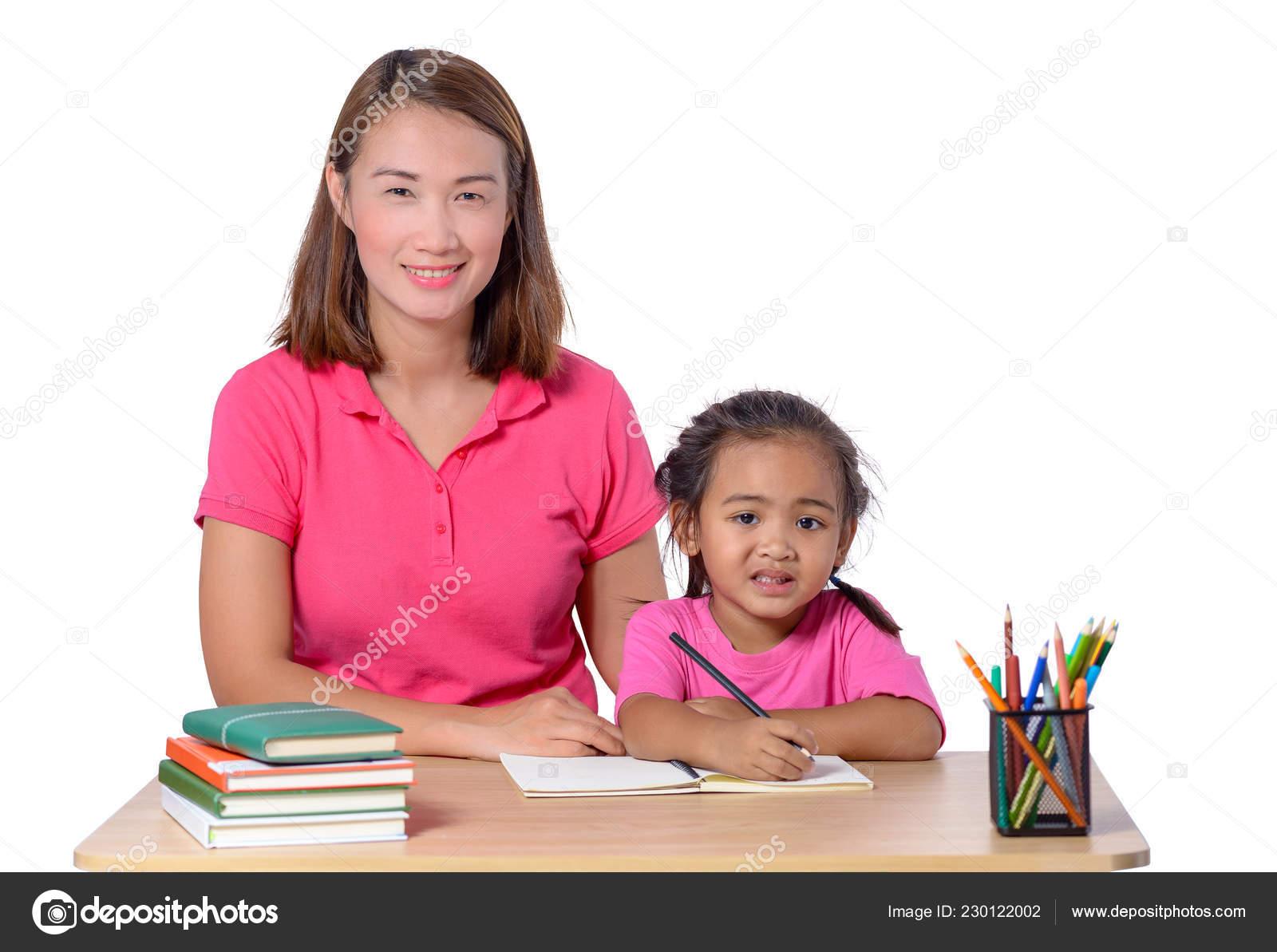 Moms teaching young girls