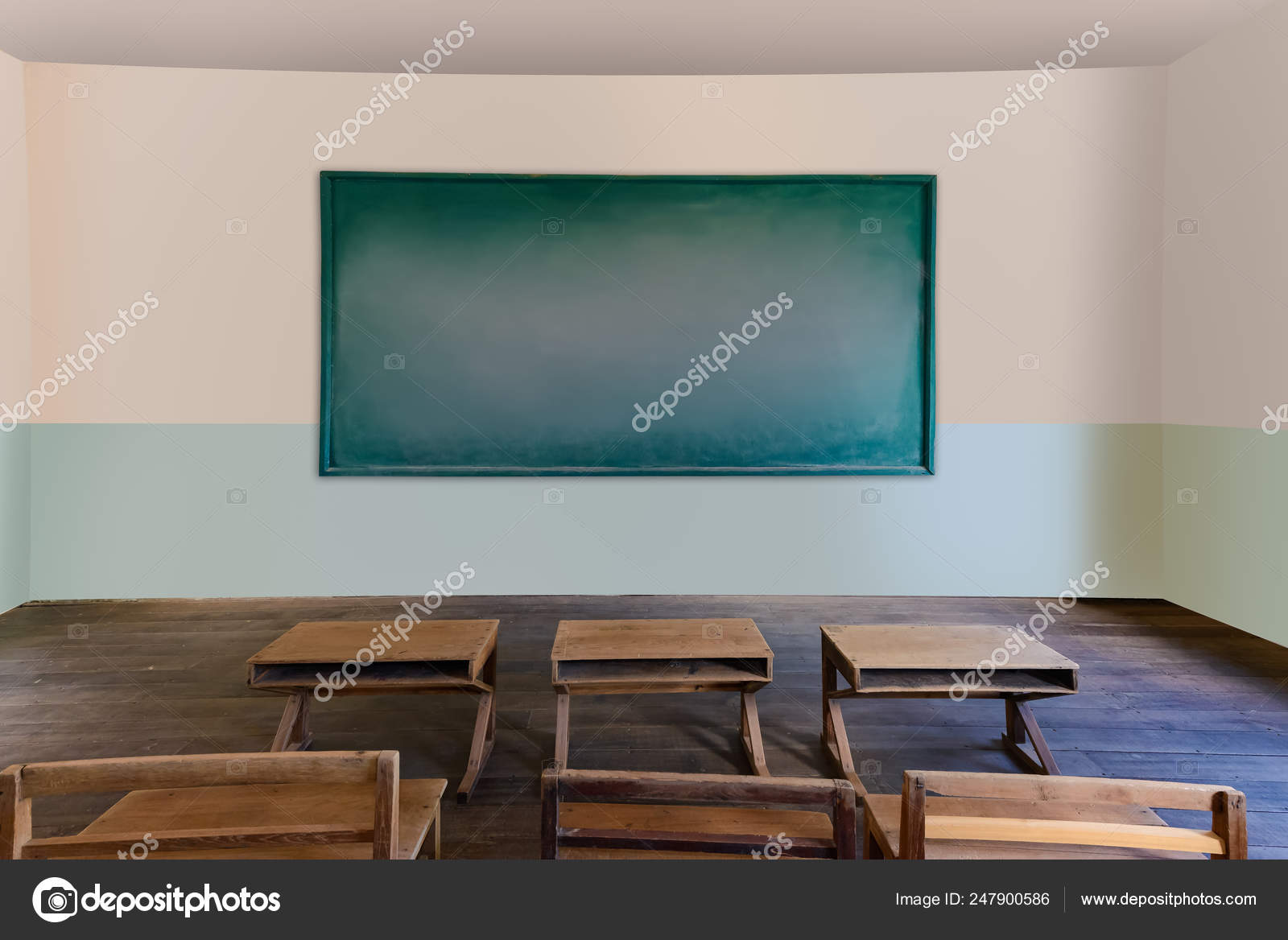 Antique classroom in school with Rows of empty wooden desks ...