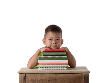 portrait of smiling little student asian boy with many books edu