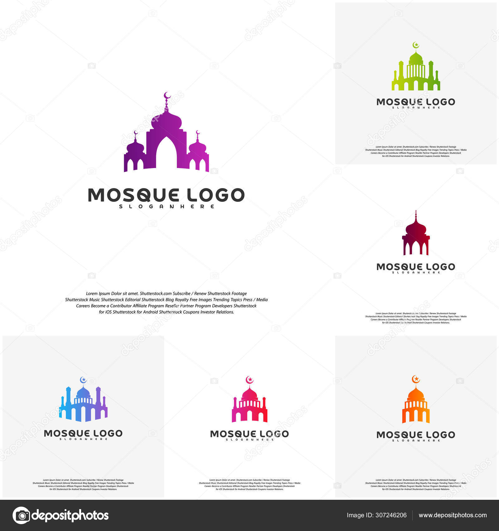 Set Islamic Logo Design Vector Mosque Logo Template Muslims Learn Logo Templates Stock Vector C Shuttersport 307246206