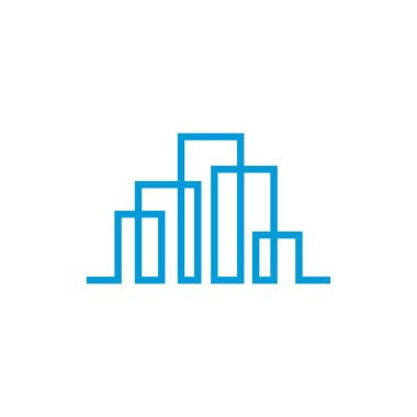 Modern line art City logo template. City skyline line art vector illustration