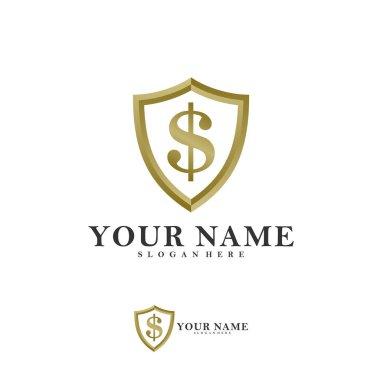 Shield Dollar Vector Logo Design Template, Creative money shield logo concepts, Icon symbol