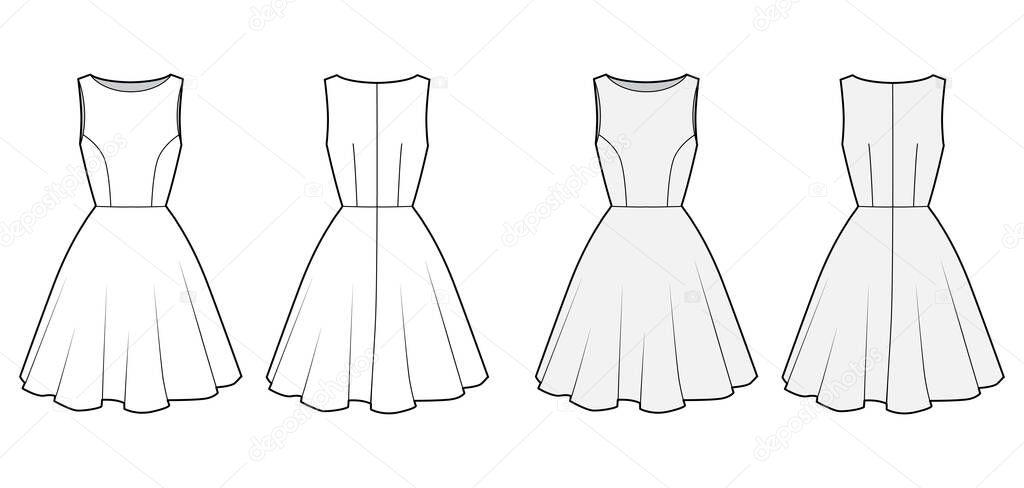 Dress Technical Fashion Illustration With Fitted Body Boat Neck Sleeveless Semi Circular Fullness Knee Length Flat Apparel Template Front Back White And Grey Color Women Men Unisex Cad Mockup Premium Vector In