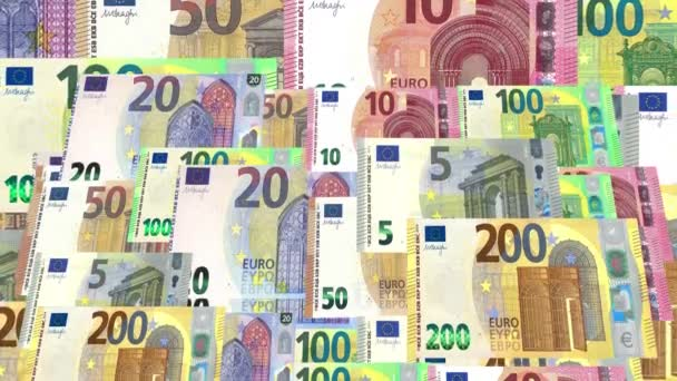 euro banknotes flowing in abstract animation