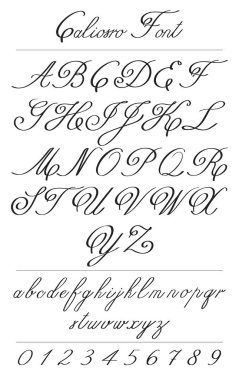 Elegant calligraphy letters with florishes. Coliostro Font