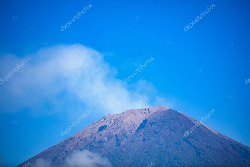 Mount Agung with smoke from the crater, july 2018, couple of weeks after last eruption with lava.