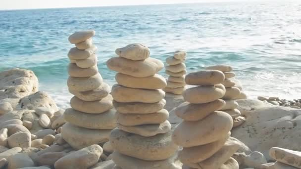 Zen stones near ocean water