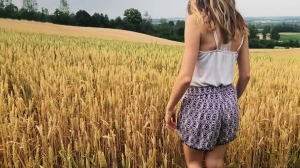 Girl enjoying in a golden wheat - field in the summer.