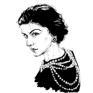 Hand drawn Sketch Portrait of Coco Chanel  stock illustration, black pen