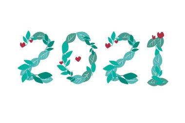 Figures 2021 from green leaves isolated on a white background for the new year or Christmas. Vector stock illustration symbol 2021 as a separator or sticker for a diary, organizer or bullet journal