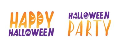 Lettering with text Halloween party and happy halloween isolated on white background as a party invitation or greeting for design. Flat vector stock illustration with set or collection of illustrations