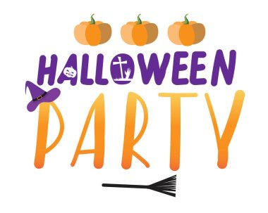 Lettering with text Halloween party isolated on white background as a party invitation or greeting for design. Flat vector stock illustration with letters and silhouettes halloween pumpkins