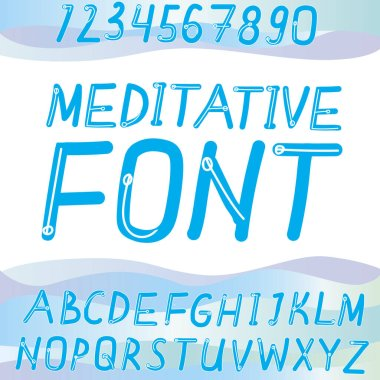 Cute font, alphabet, abc, letters isolated on white background for design. Typographic vector stock illustration with blue english, latin alphabet symbols and font numbers for cute lettering or words