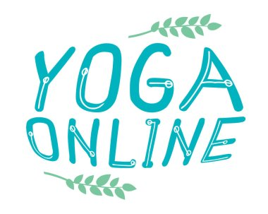 Lettering with text Yoga online isolated on white background as a concept of yoga asanas, exercises during quarantine, yoga studio. Typographic vector stock illustration with letters for business