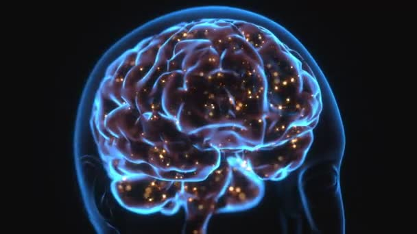 RTG hlavy a lidský mozek v pojmu nervových spojení a elektrických impulsů. Jiskří v mozku. Mocné myšlenky.