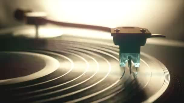 Vinyl record being played on old retro vintage disc jockey device. Video clip seamless.