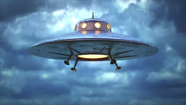 Unidentified flying object. Unidentified object with retro style, old design. Seamless looping.