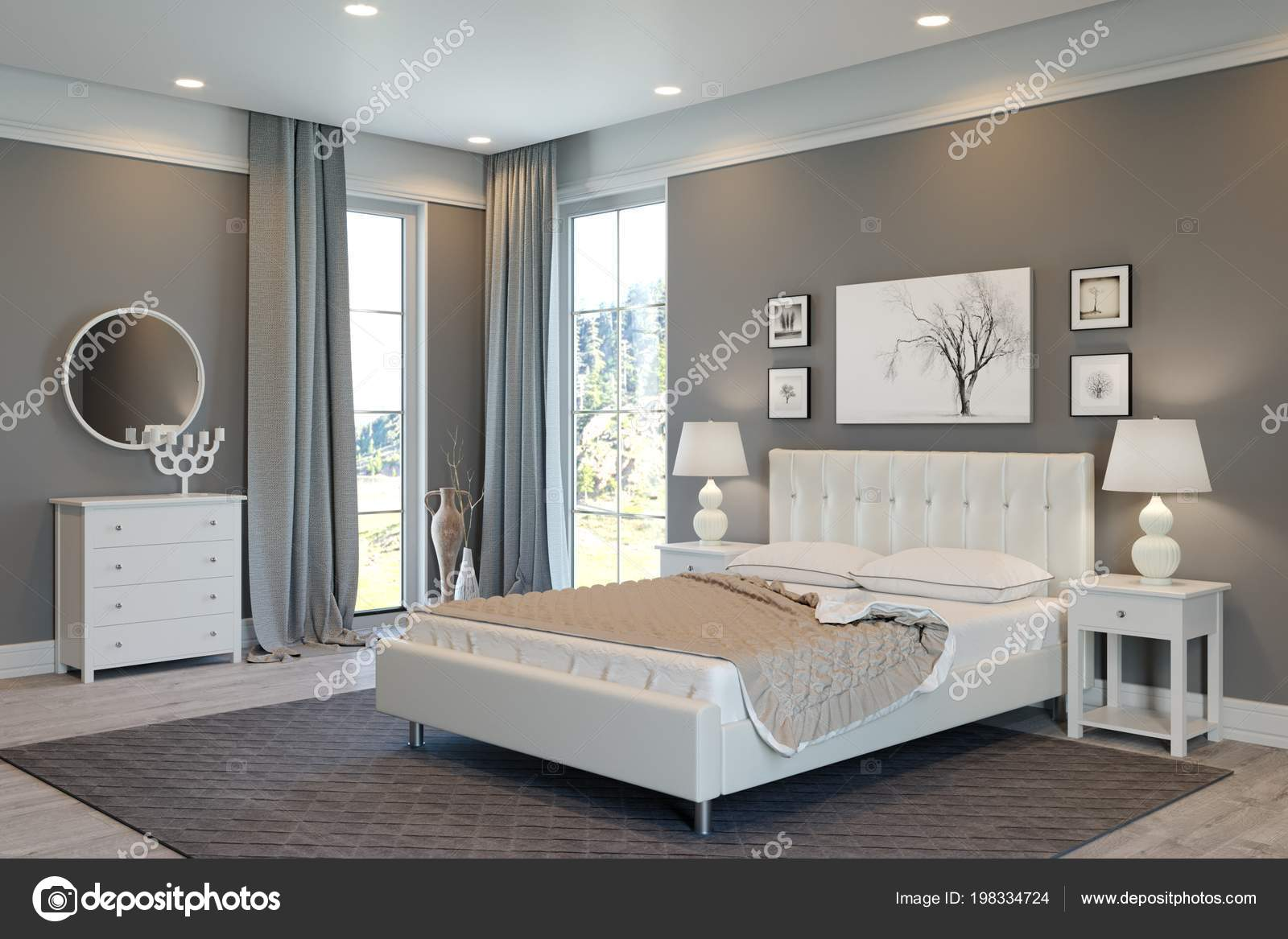 Luxus Schlafzimmer Weiß Grau — Stockfoto © sanchopancho00 #198334724