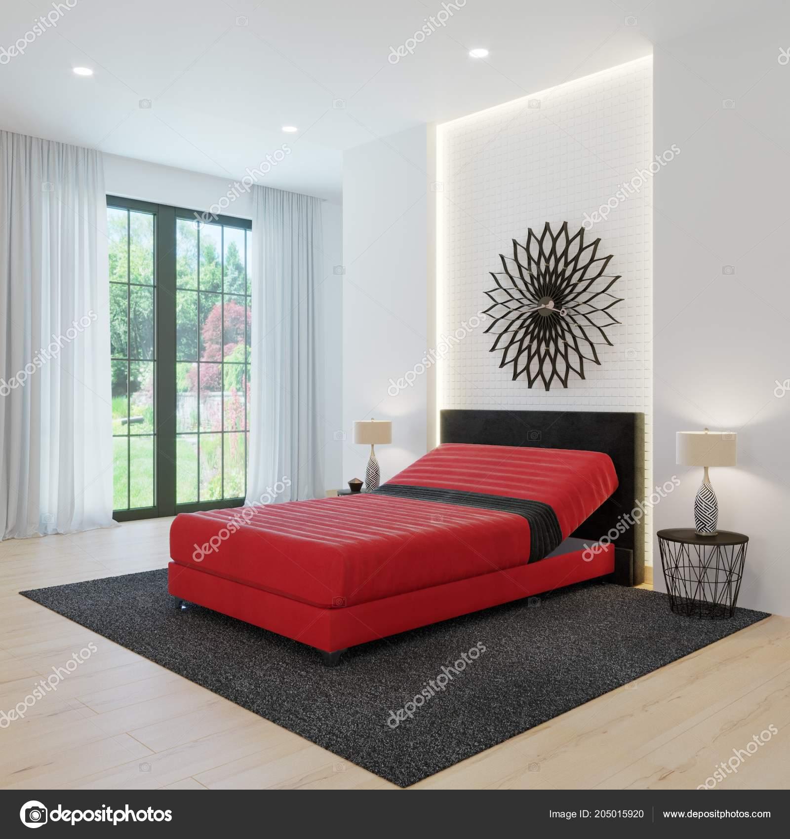 Design Chambre Coucher Moderne Fenêtre Panoramique Lit Rouge ...