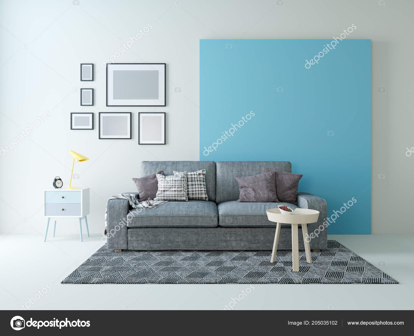 Grau Blau Wand design des wohnzimmers grau blaue wand — stockfoto © sanchopancho00