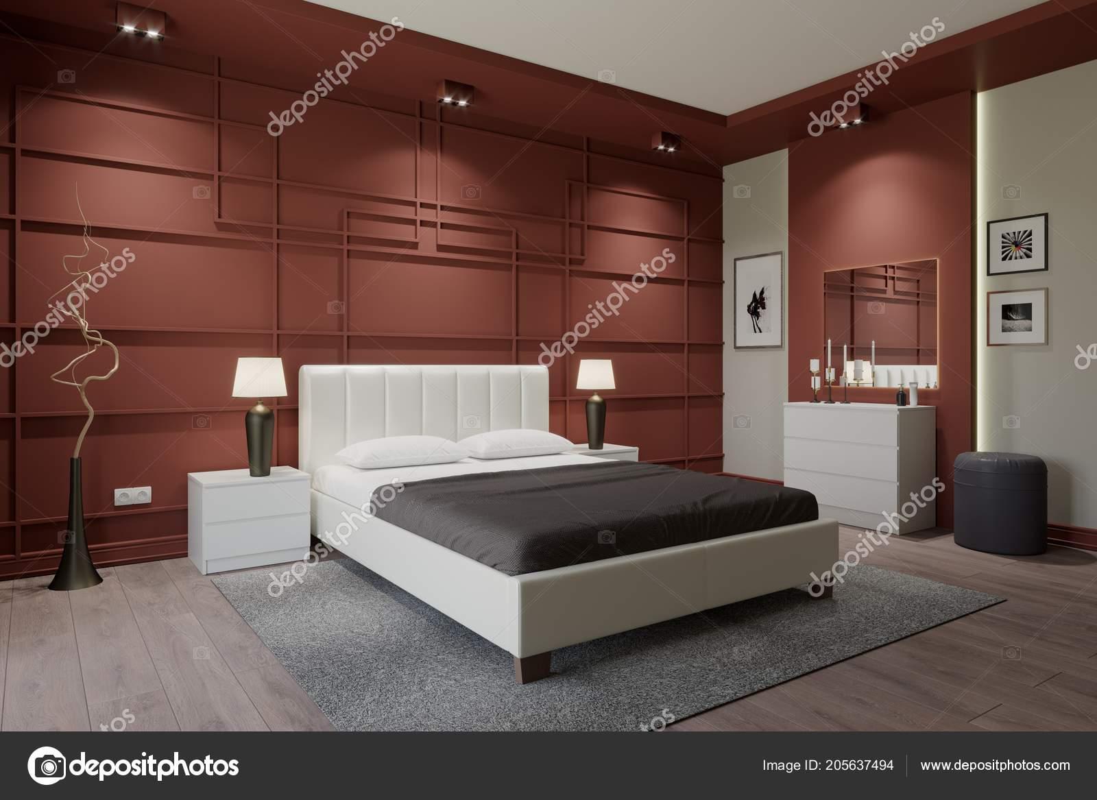 Kleur Slaapkamer Muur : Ontwerp van slaapkamer muur pijpen paarse kleur ingericht