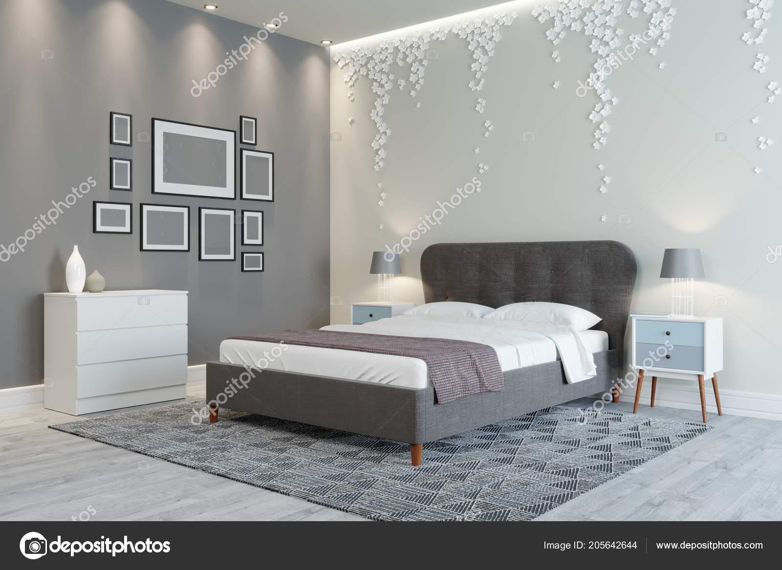 Ein Gemütliches Schlafzimmer Design Helle Farben Wand Dekoriert U2014 Stockfoto
