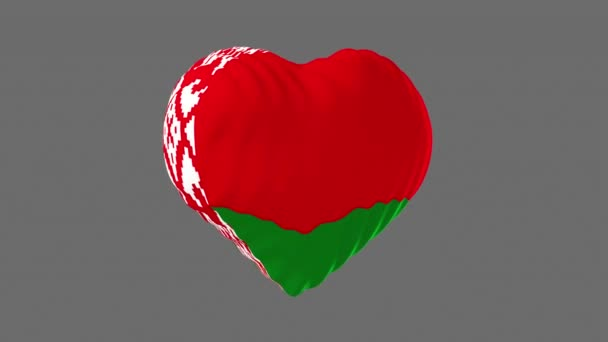 Belarus flag in the shape of a heart. 3d animation