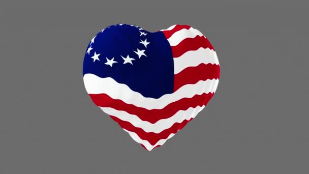 United States flag in the shape of a heart. 3d animation