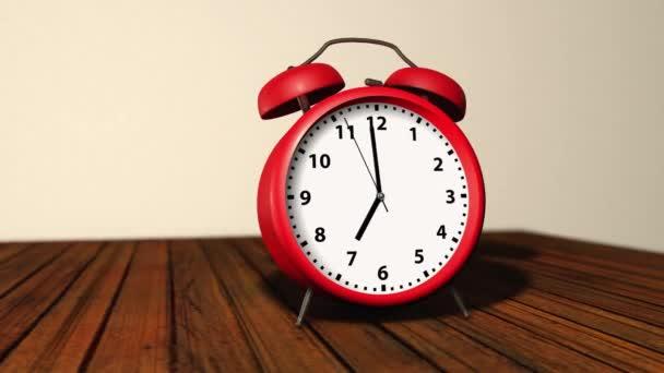 Retro červené budíky se dvěma zvonky nahoře, zvoní v 7 hodin