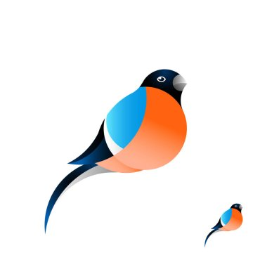 A beautiful red bullfinch with a red breast. The bird icon in a flat style. Winter bird.