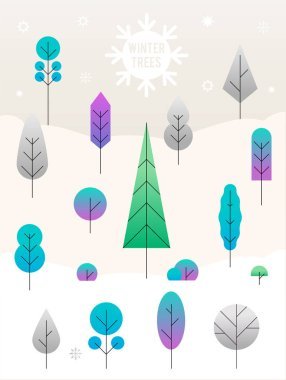 Merry Christmas Landscape. vector concept illustration flat design. Winter trees in the snow.