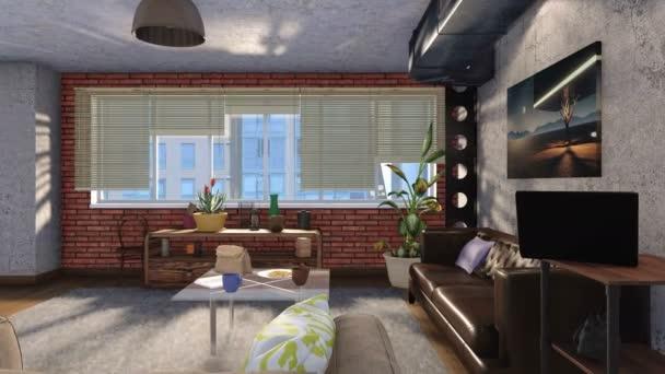 Pohodlná městská obývacího pokoje interiér s pohovkami, hnědá cihlová zeď a panoramatickému oknu moderní loft stylu designu na slunečný den. Realistické 3d animace vykreslované v rozlišení 4k