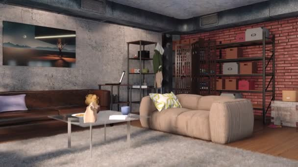 Modern minimalista nappali interior, loft design stílusú kanapék, téglafal, beton fal, fém szellőző verem és polcok a nappali. Valósághű 3D-s animáció jelenik meg, a 4k