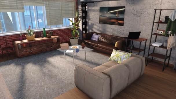 Moderní minimalistický obývací pokoj interiéru v podkroví byt s pohovkami, zděné, betonové zdi a panoramatické okno ve dne. Koncepce designu 3d animace vykreslen v rozlišení 4k