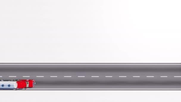 Letecký pohled shora částečně truck tahání plynu nebo ropy cisterny na prázdné silnici silnici s kopie prostoru bílým pozadím. Minimalistické nákladní dopravy koncept 3d animace vykreslen v rozlišení 4k