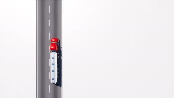 Letecký pohled shora kamion tanker benzinu dál prázdný asfaltové silnici s kopie prostoru bílým pozadím. Autodoprava průmyslu koncept loopable 3d animace vykreslované v rozlišení 4k