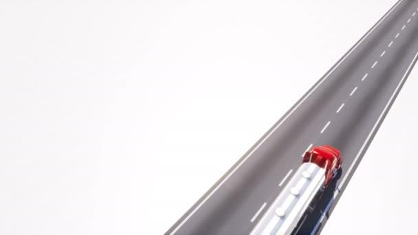 Čerpací cisterny s chrome palivové nádrže jízdy prázdných asfaltové silnici na bílém pozadí s kopie prostoru. Autodoprava průmyslu koncept 3d animace vykreslované v rozlišení 4k