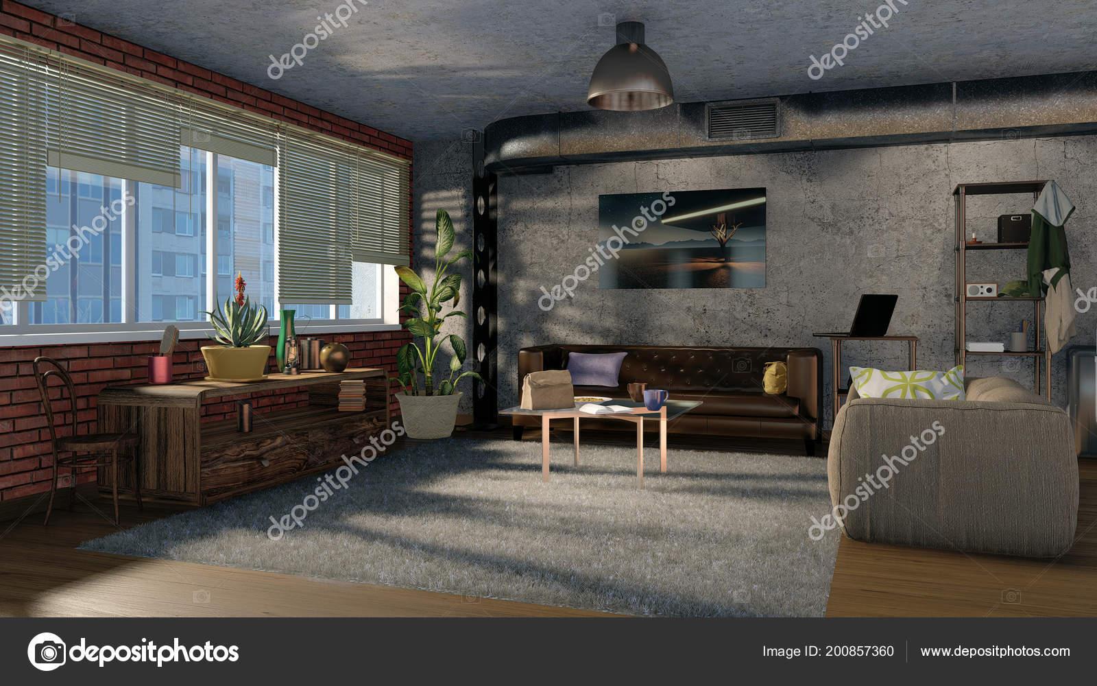 Moderne Wohnzimmer Interior Design Mit Mauerwerk Betonwand Metall ...
