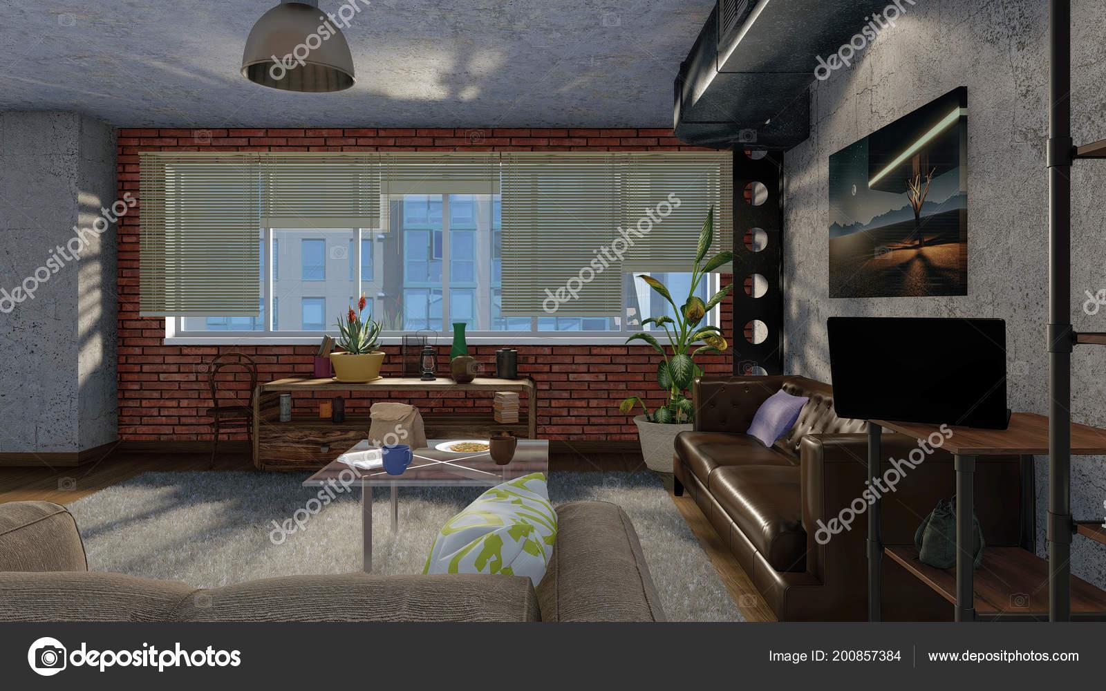 Moderne minimalistische woonkamer interieur loft appartement met