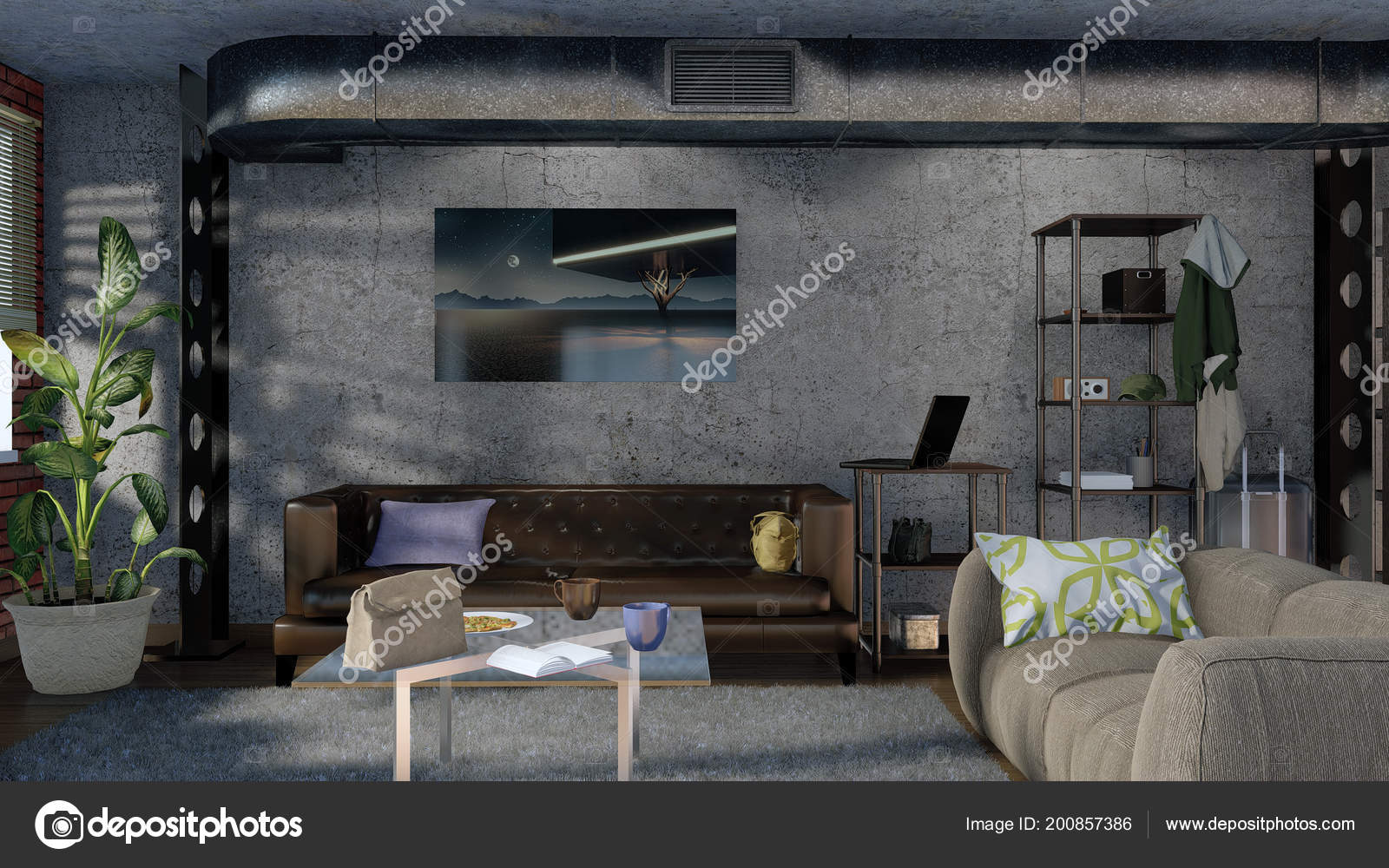 Moderne minimalistische loft stijl woonkamer interieur met sofa
