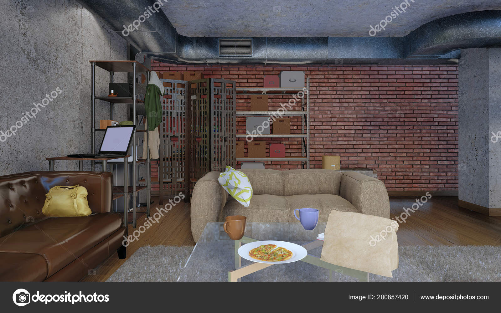 Interieur van moderne minimalistische woonkamer met sofa