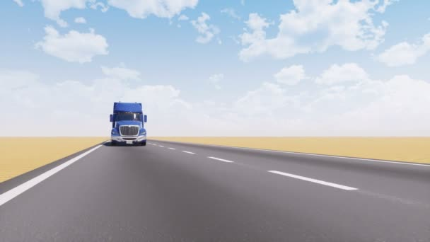 Front view of freight truck driving on empty asphalt road among abstract plain desert landscape at daytime. Minimalist trucking industry concept 3D animation rendered in 4K