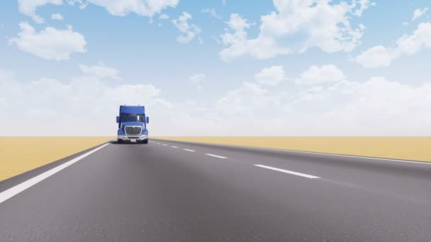Front view of classic american freight semi truck driving on empty asphalt road among abstract sandy desert landscape. Simple trucking industry concept 3D animation rendered in 4K