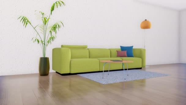 grünes Sofa mit Kissen, Zimmerpflanze und Stehlampe vor leerer weißer Stuckwand in modernem minimalistischem Wohnzimmerinterieur. realistische 3D-Animation mit Kopierraum in 4k